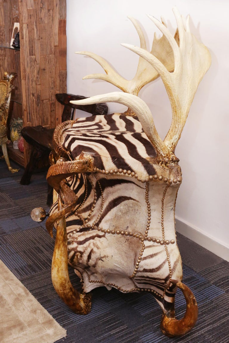 Hand-Crafted Zebra and Elk Chest of Drawers For Sale
