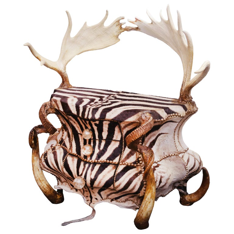 Zebra and Elk Chest of Drawers For Sale