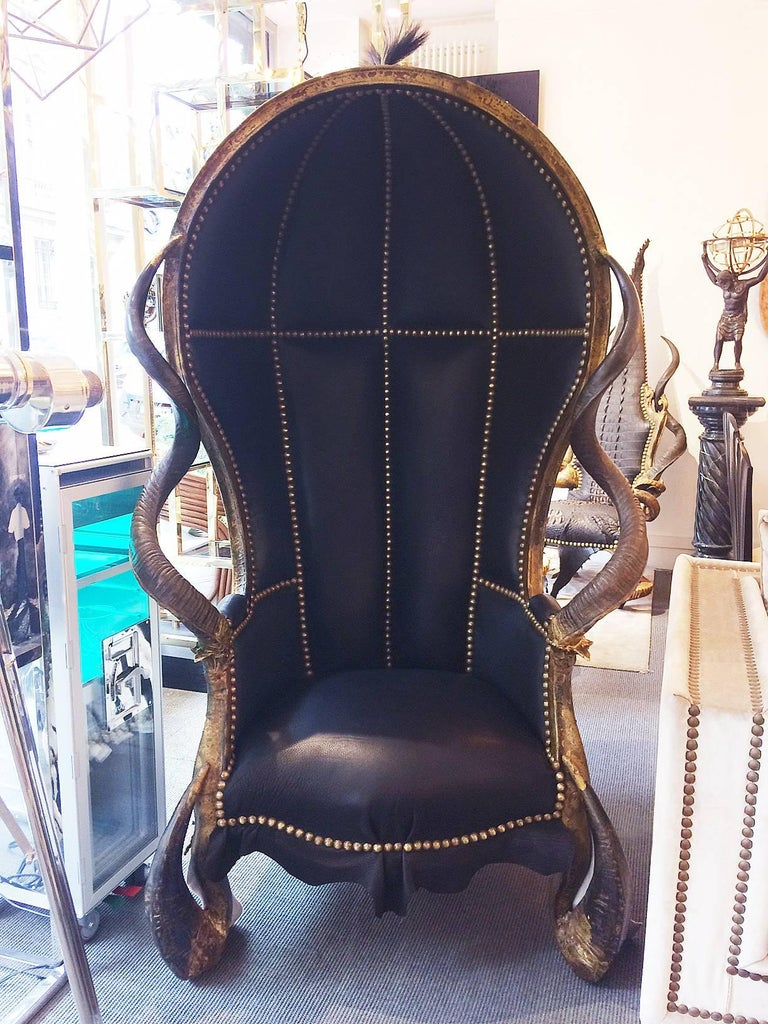 French Zebra Black Armchair Dome with Real Zebra Skin and Real Horns For Sale