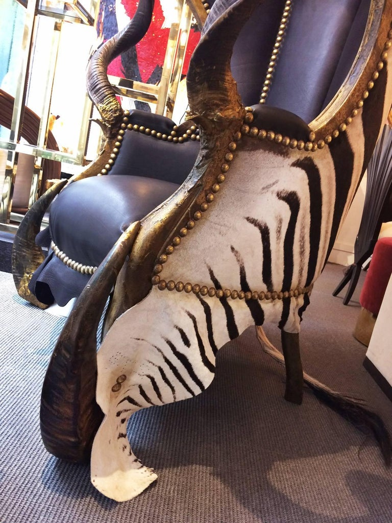 Zebra Black Armchair Dome with Real Zebra Skin and Real Horns For Sale 2