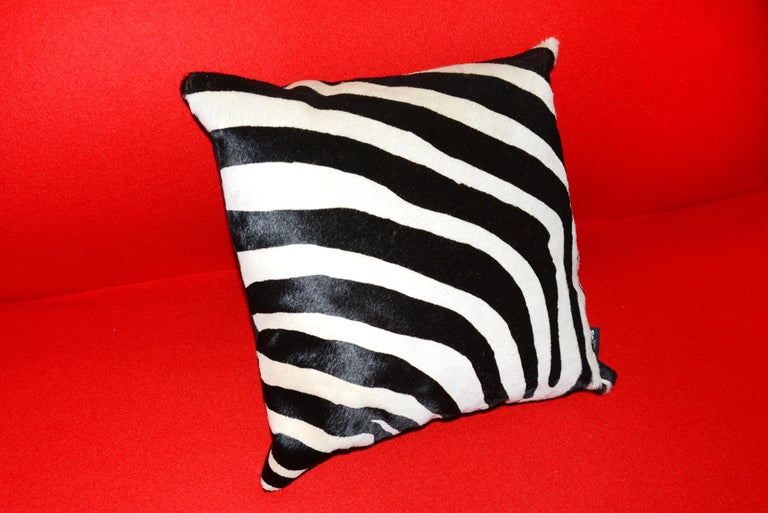 French Zebra Cushion in Cowhide For Sale