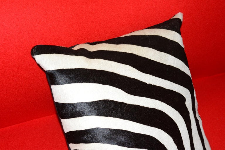 Hand-Crafted Zebra Cushion in Cowhide For Sale