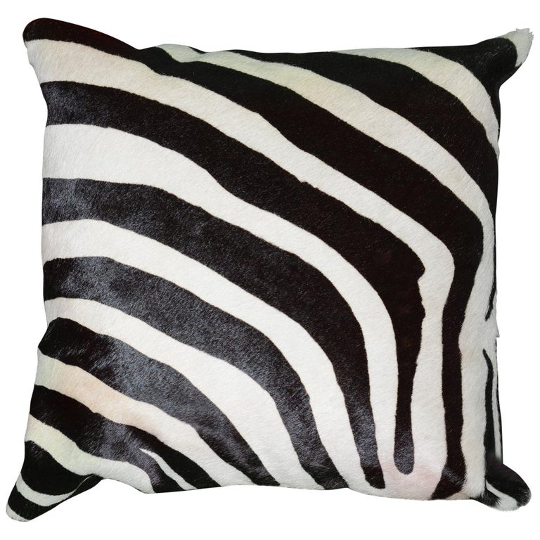 Zebra Cushion in Cowhide For Sale