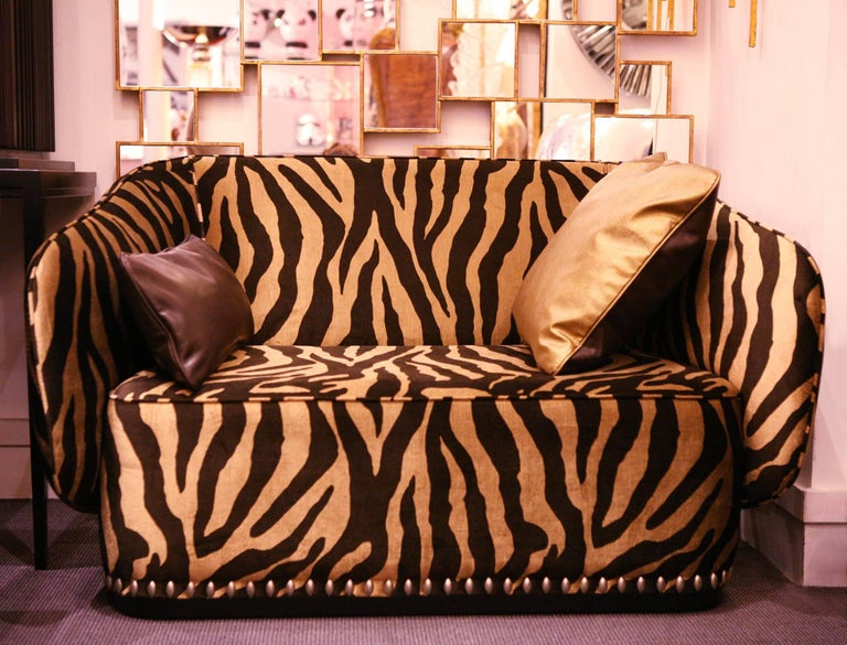 Zebra Gold Sofa In Velvet Fabric For Sale At 1stdibs