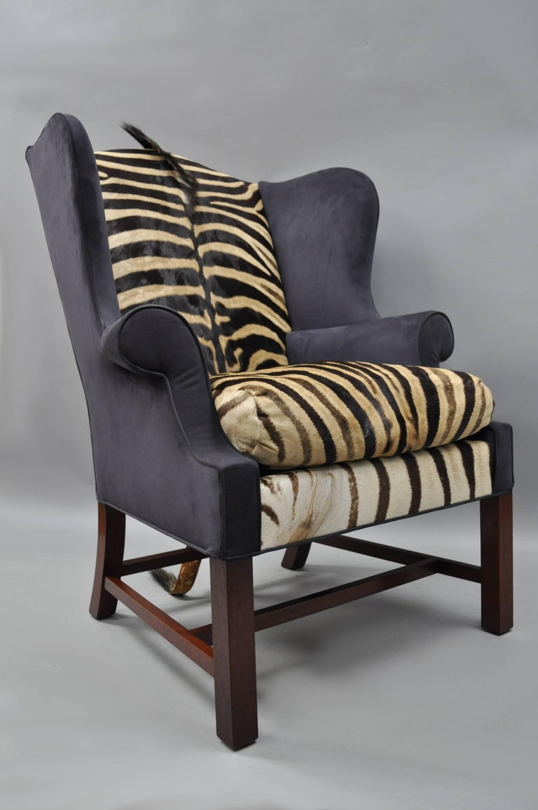 Zebra Hide And Blue Suede Upholstered Custom Mahogany