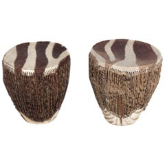 Zebra Hide Drum End Tables