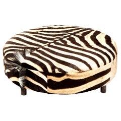 Zebra Hide Ottoman, Chocolate, Round