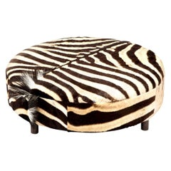 Zebra Hide Ottoman, Chocolate, Round, in Stock, New Ottoman