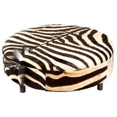 Zebra Hide Ottoman, Chocolate, Round, Large