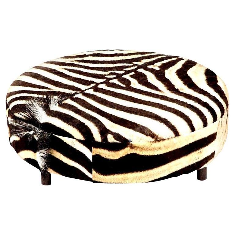 Zebra Hide Ottoman, Chocolate & Cream, Round, Contemporary, In Stock, New Hides For Sale