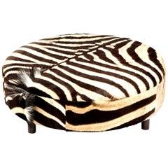 Zebra Hide Ottoman, Chocolate, Round, New Ottoman, in Stock, Made in USA