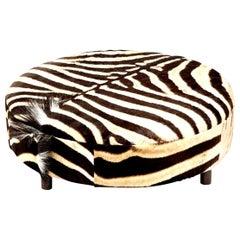 Zebra Hide Ottoman, Chocolate, Round, New Ottoman, Two Ottomans in Stock, New