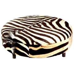 Zebra Hide Ottoman, Chocolate, Round, New Ottoman, Two Ottomans in Stock, New