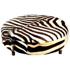 Zebra Hide Ottoman, Chocolate, Round, New Ottoman, Two Ottomans in Stock