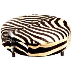 Zebra Hide Ottoman, Chocolate, Round, New Ottoman, Two Ottomans in Stock, USA