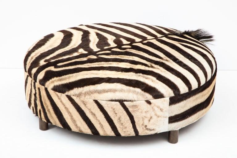 Zebra Hide Ottoman, Chocolate & Cream, Round, Contemporary, In Stock, New Hides For Sale 4