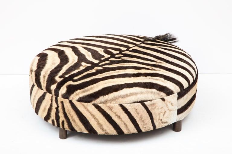 Zebra Hide Ottoman, Chocolate & Cream, Round, Contemporary, In Stock, New Hides For Sale 5