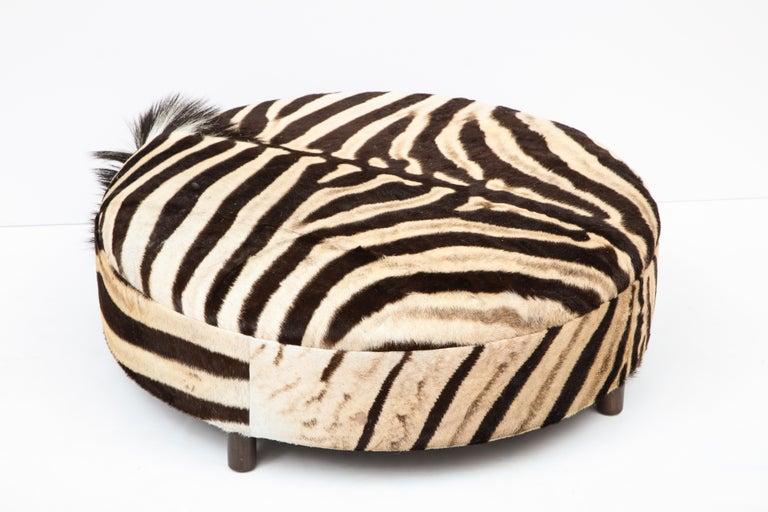 Zebra Hide Ottoman, Chocolate & Cream, Round, Contemporary, In Stock, New Hides For Sale 6