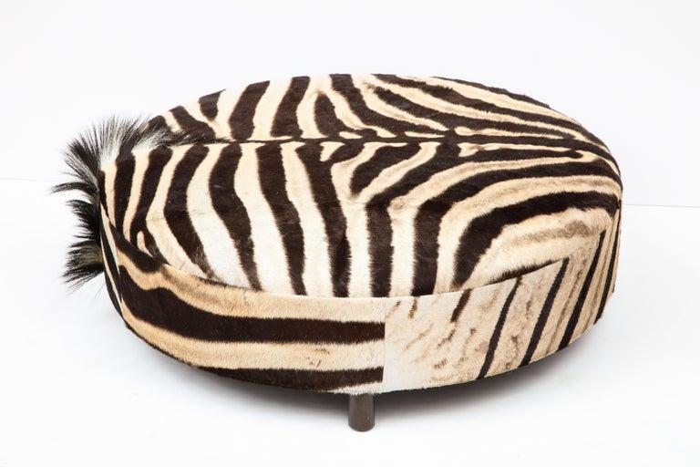 Zebra Hide Ottoman, Chocolate & Cream, Round, Contemporary, In Stock, New Hides For Sale 7