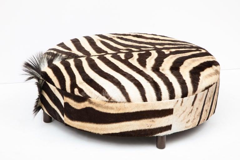 Zebra Hide Ottoman, Chocolate & Cream, Round, Contemporary, In Stock, New Hides For Sale 8