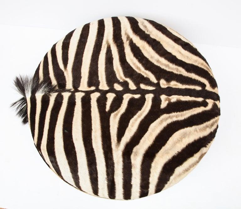 Zebra Hide Ottoman, Chocolate & Cream, Round, Contemporary, In Stock, New Hides For Sale 9