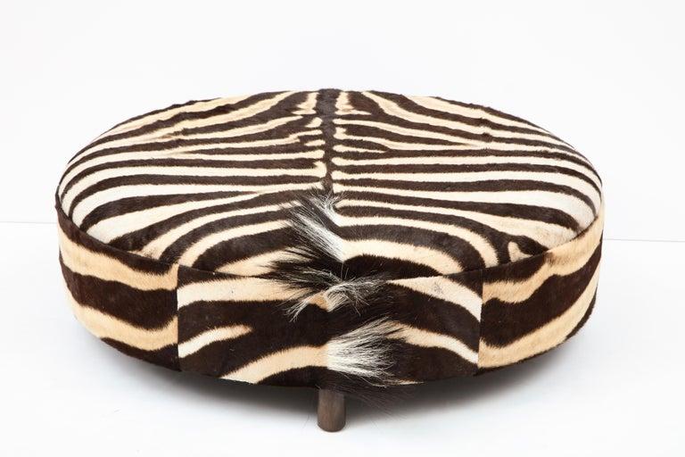 Campaign Zebra Hide Ottoman, Chocolate & Cream, Round, Contemporary, In Stock, New Hides For Sale