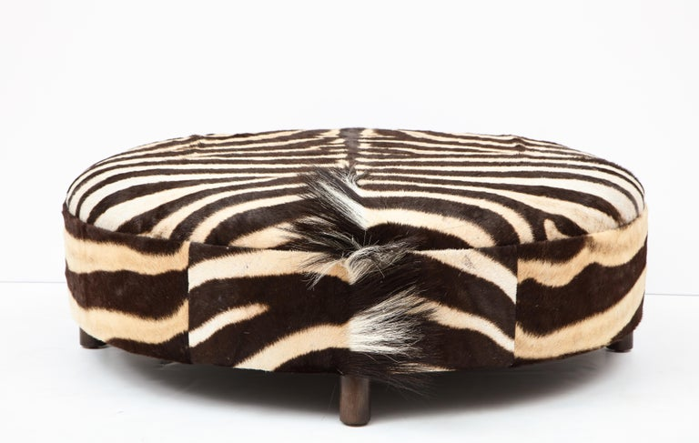 South African Zebra Hide Ottoman, Chocolate & Cream, Round, Contemporary, In Stock, New Hides For Sale