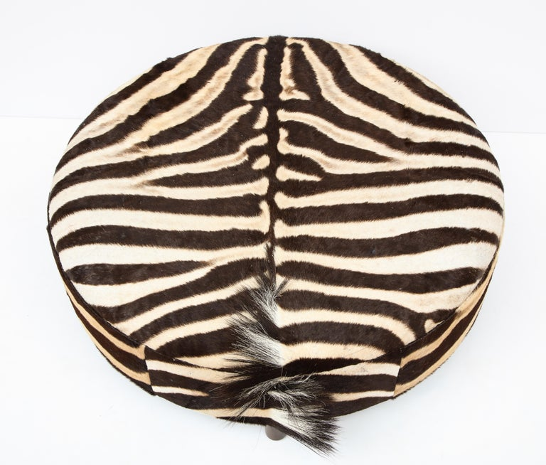Hand-Crafted Zebra Hide Ottoman, Chocolate & Cream, Round, Contemporary, In Stock, New Hides For Sale