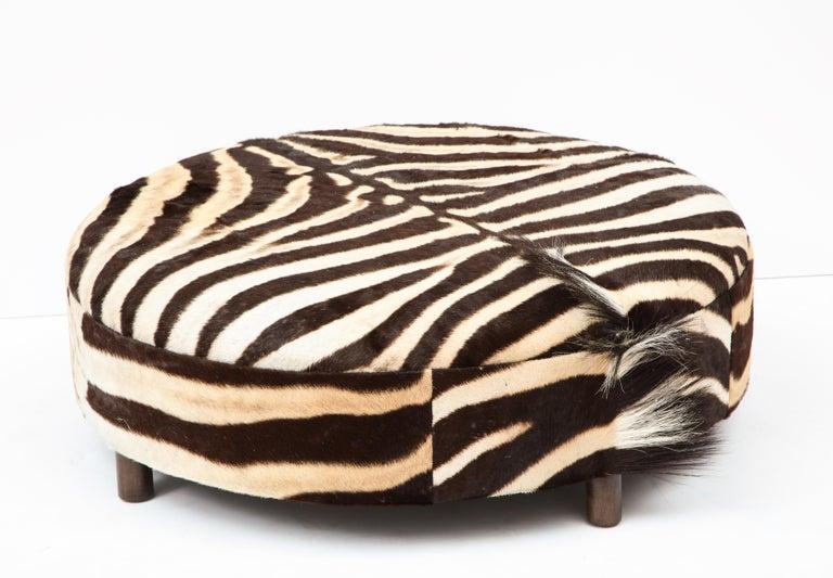 Zebra Hide Ottoman, Chocolate & Cream, Round, Contemporary, In Stock, New Hides For Sale 1