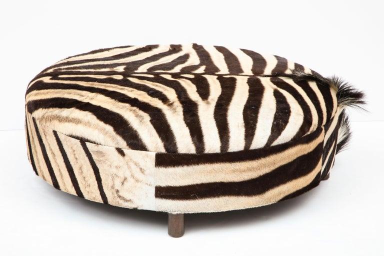 Zebra Hide Ottoman, Chocolate & Cream, Round, Contemporary, In Stock, New Hides For Sale 2