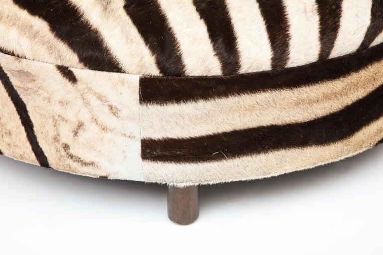 Zebra Hide Ottoman, Chocolate & Cream, Round, Contemporary, In Stock, New Hides For Sale 3