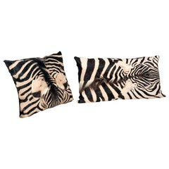 Zebra Hide Pillow with Brown Italian Lambskin Leather