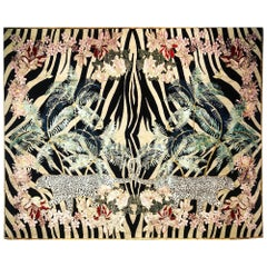 Zebra Leopard Palms Hand Knotted Wool and Silk Rug by Wendy Morrison