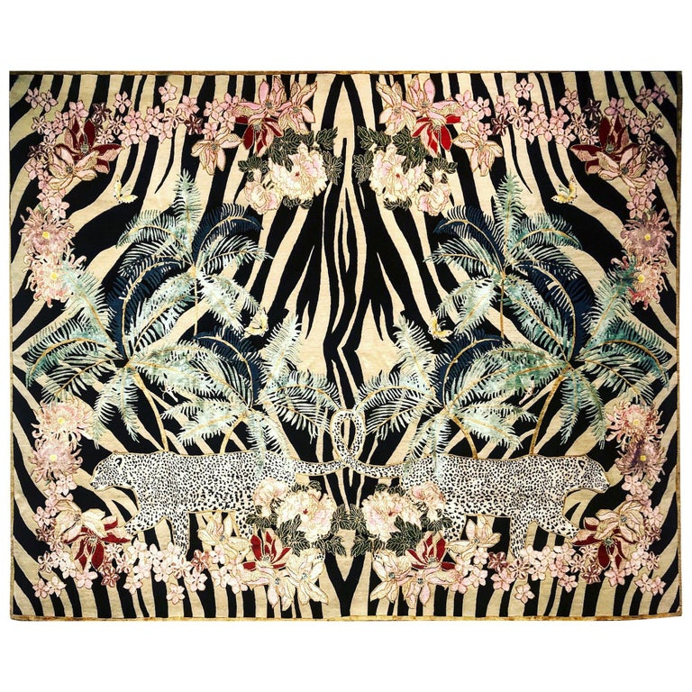 Zebra Leopard Palms Hand Knotted Wool and Silk Rug by Wendy Morrison For Sale