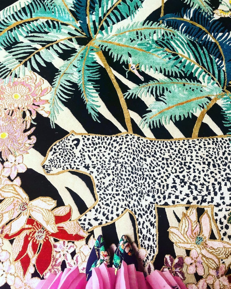 Indian Zebra Leopard Palms Hand Knotted Wool and Silk Rug by Wendy Morrison For Sale