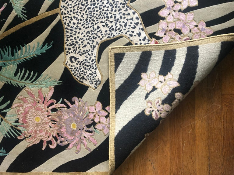 Zebra Leopard Palms is a hand knotted wool and silk rug by Scottish designer Wendy Morrison. The rug is handcrafted in India using only the finest wool and silk and is Goodweave certified, meaning you can be confident that no child labour has been