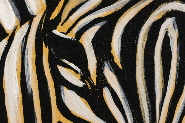 Zebra Oil Painting Signed by Artist For Sale at 1stdibs