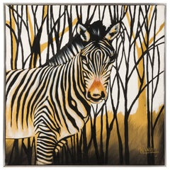 Zebra Oil Painting Signed by Artist