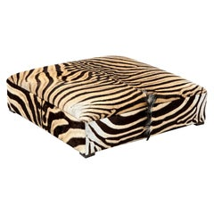 Zebra Ottoman / Coffee Table, Large Square, Chocolate
