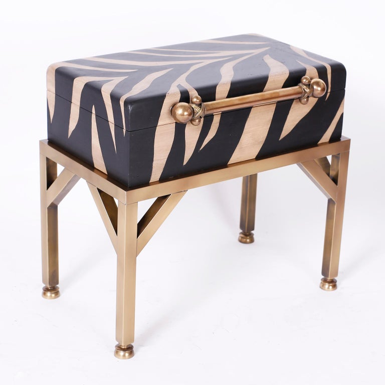 British Colonial Zebra Painted Box on Stand For Sale