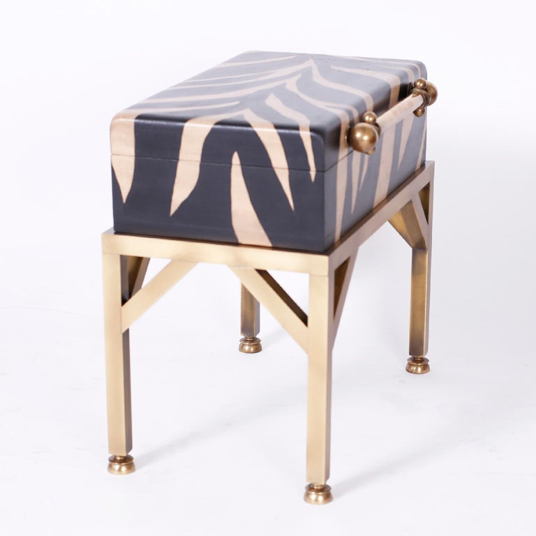 20th Century Zebra Painted Box on Stand For Sale