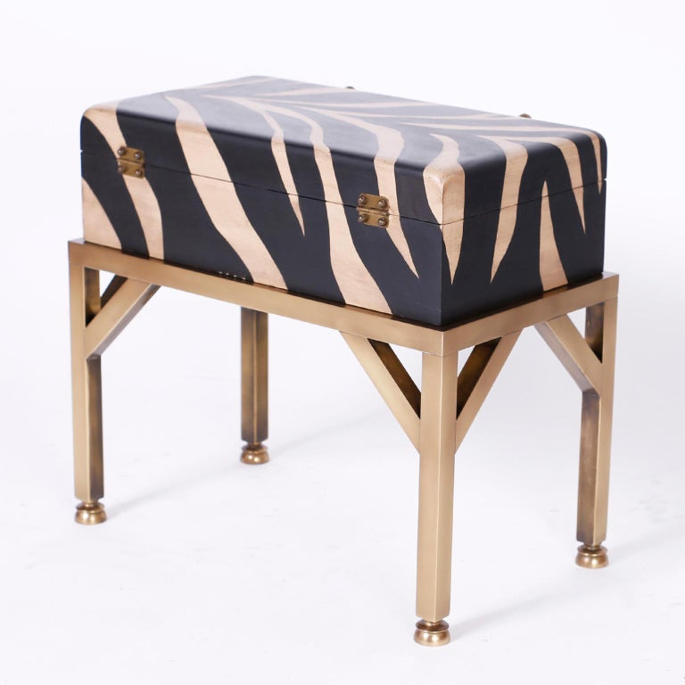 Brass Zebra Painted Box on Stand For Sale