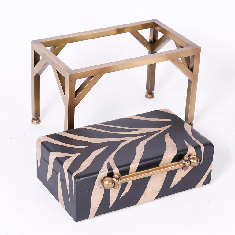Zebra Painted Box on Stand For Sale 2