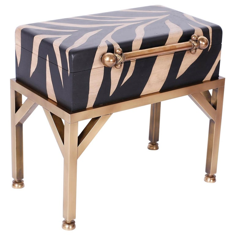 Zebra Painted Box on Stand For Sale
