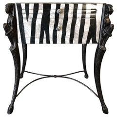 Zebra Pattern Side Table