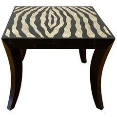 Zebra Pattern Stone Inlay Side / Coffee Table