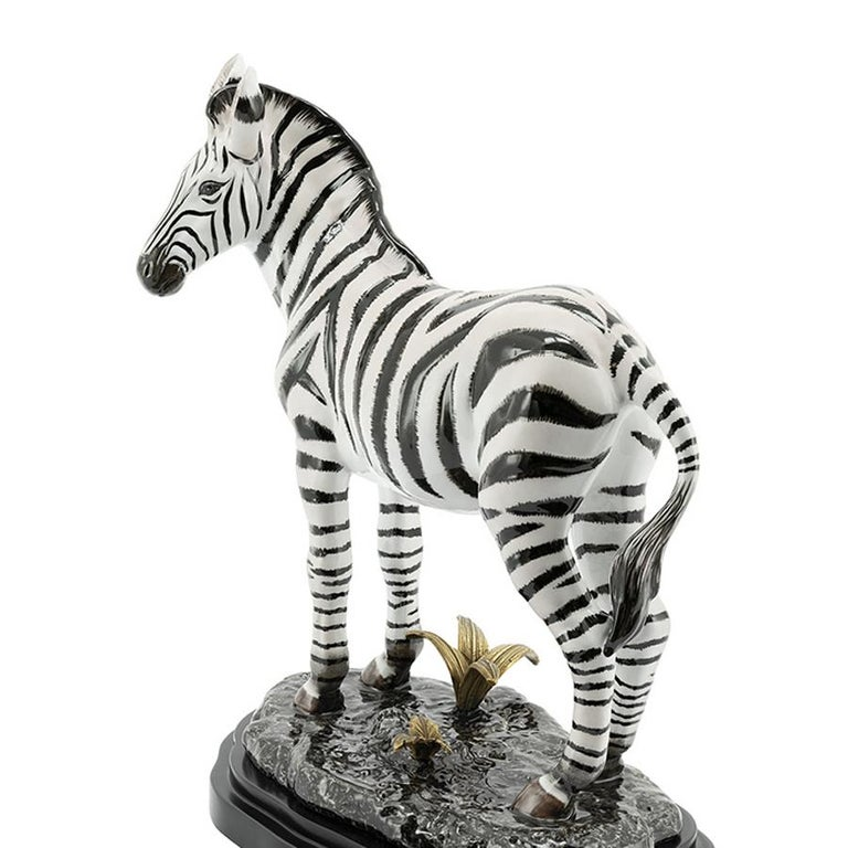 Hand-Crafted Zebra Sculpture in White Porcelain For Sale