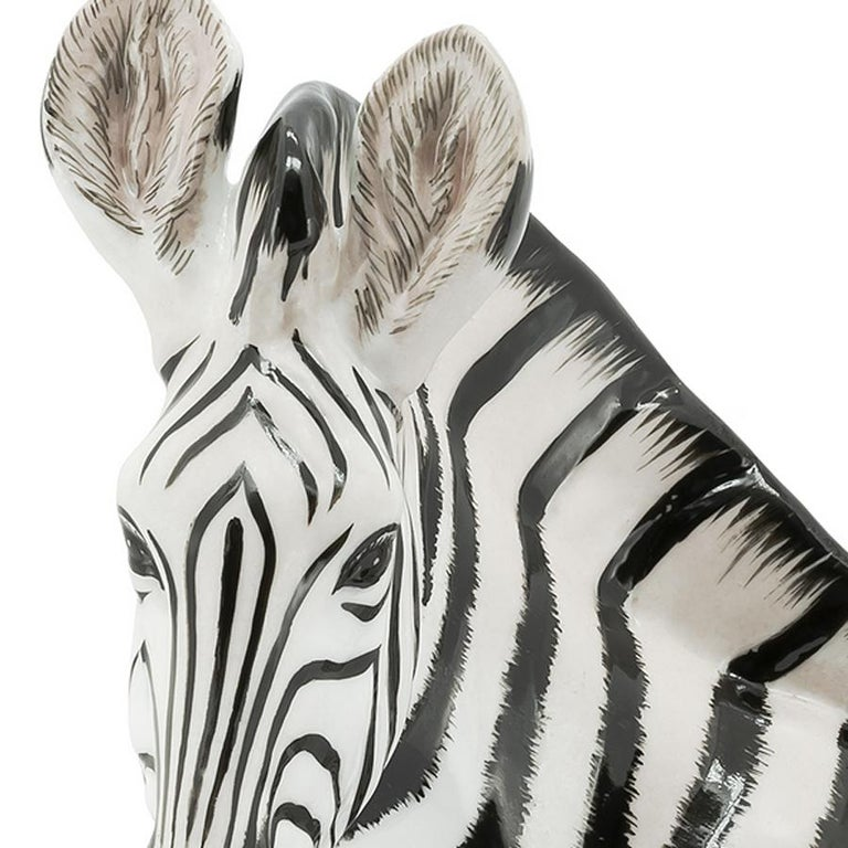 Zebra Sculpture in White Porcelain In New Condition For Sale In Paris, FR