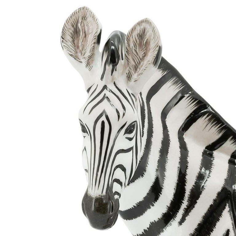 Contemporary Zebra Sculpture in White Porcelain For Sale