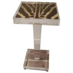 Zebra Skin Lucite Table
